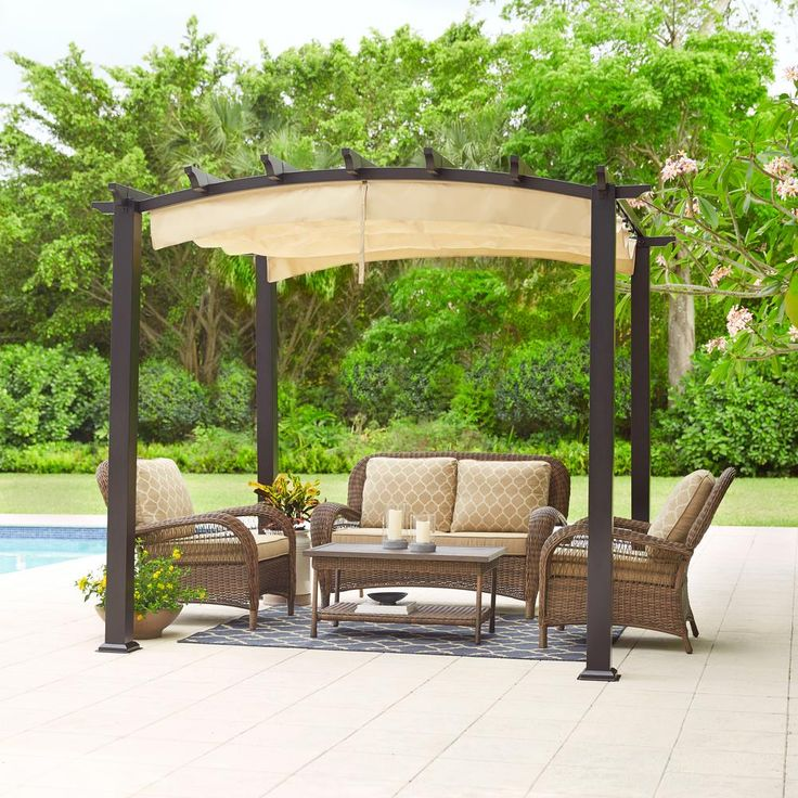 Hampton Bay 9 Ft X Steel And Aluminum Arched Pergola With Retractable Canopy Browns Tans