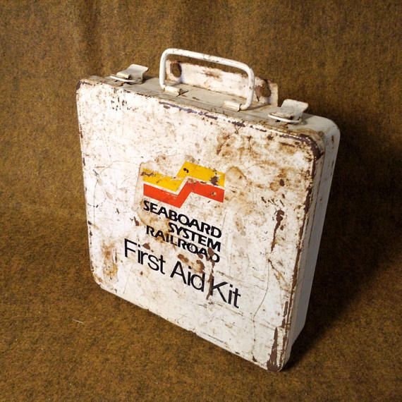 Seaboard System Railroad First Aid Kit  With Contents  White