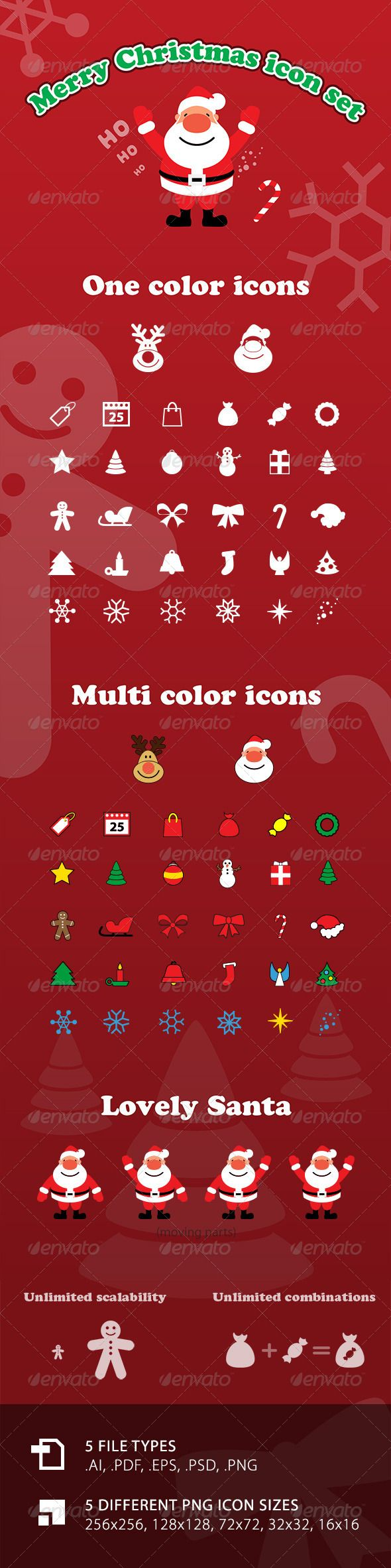 Vector Merry Christmas Icon Set with Santa  #GraphicRiver         32 – One color Christmas icons 32 – Multi color Christmas icons 4 – Types of lovely Santa with moving parts (head, body, arms, legs) Unlimited scalability, usability and combinations   5 file types .AI, .PDF, .EPS, .PSD, .PNG 5 different PNG icon sizes 256×256, 128×128, 72×72, 32×32, 16×16   All icons are made at high quality standard and a lot of love.   Icons: Reindeer – Santa – Tag – 25 – Bag – Santa bag – Candy – Advent…