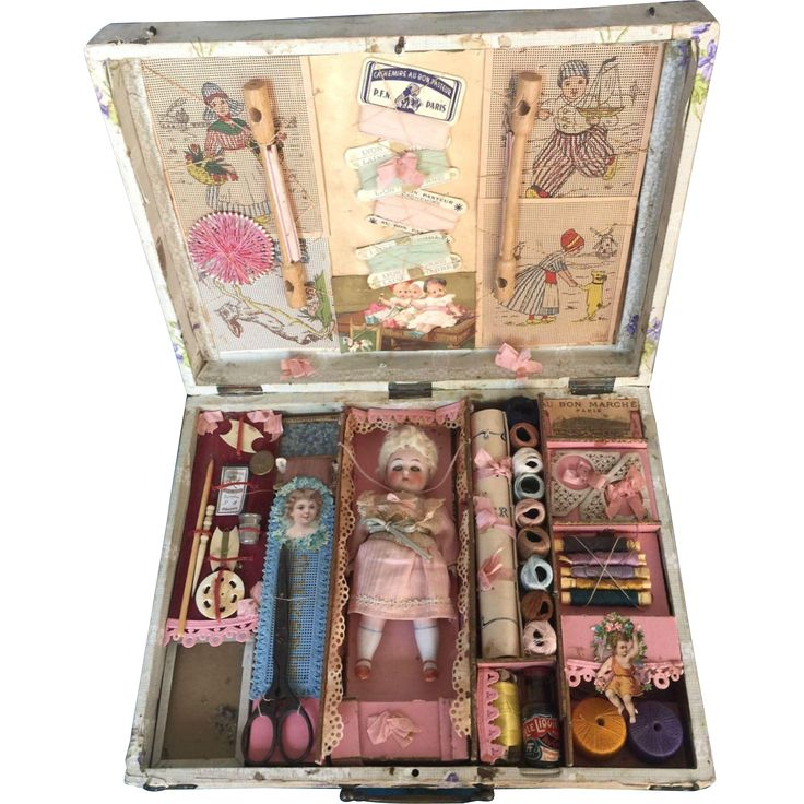"This beautifully presented child's embroidery kit is 14"" x 11. It contains many sewing notions as buttons, thread, ribbons, colored glass beads,"