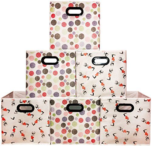 [6 Pack,Polka & Love Pattern] Large Storage Bins, Containers, Boxes, Tote, Baskets| Collapsible Storage Cubes For Household Offices Organization |Nursery Foldable Fresh Cubes| Dual Plastic Handle