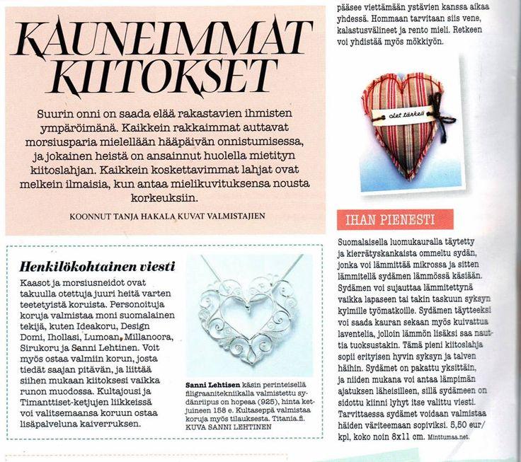 Häät -lehti 10/2013. Kuvassa Minttumaan Luomukaurasydän - lämmin ajatus. Henkilökohtainen viesti -jutussa mukana mm. Design Domi, Ideakoru ja Lumoan.