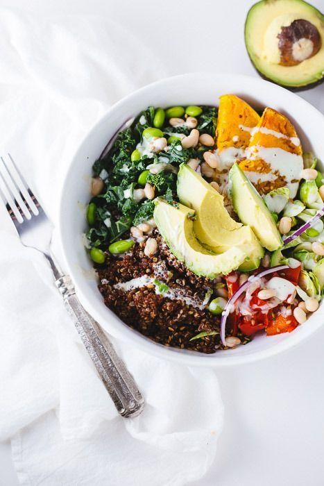 Rainbow veggie bowl. Recipe from The Blonde Chef.