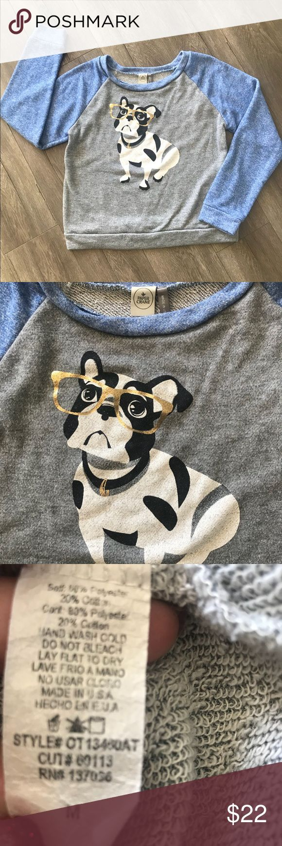 Paper Crane Lightweight Sweatshirt - Size Medium It's a Frenchie!!!  Super adorable French bulldog on this Sweatshirt with beautiful blue sleeves. Size Medium. ✔️ The fit is short at the waist ✔️ Paper Crane Tops Sweatshirts & Hoodies
