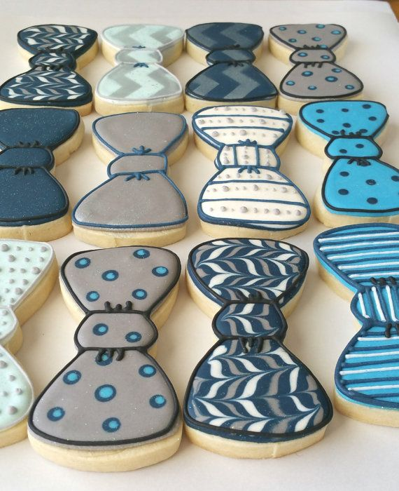 Bow tie cookies royal icing sugar cookies boy baby by KessaCakes