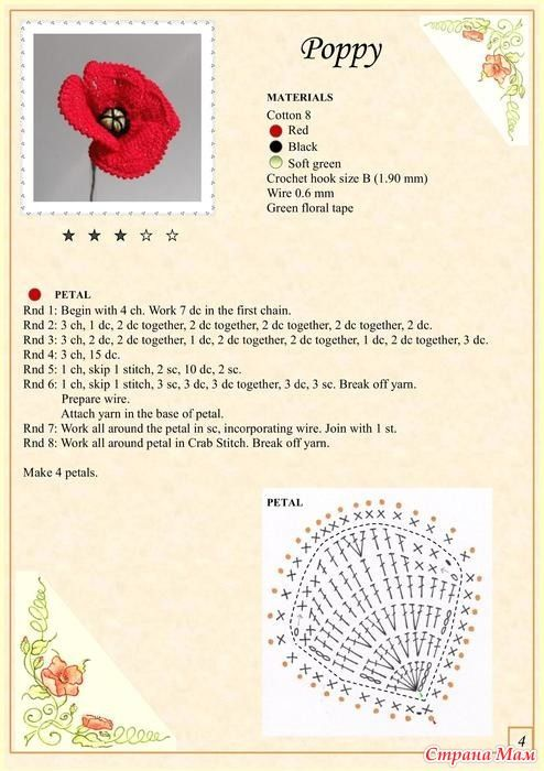 Crochet flower chart pattern                                                                                                                                                                                 More