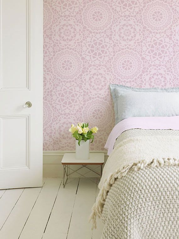 So sweet for girls too --Parlor Lace Allover Wall Stencil | Royal Design Studio -- ceiling pattern