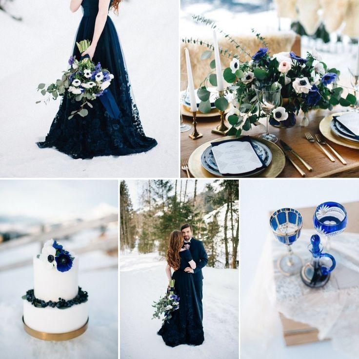 U0027Something Blueu0027   Romantic Snowy Mountain Wedding Inspiration. U0027