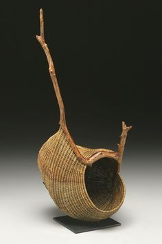 Bamboo and wood nature art River Roost sculptural basket