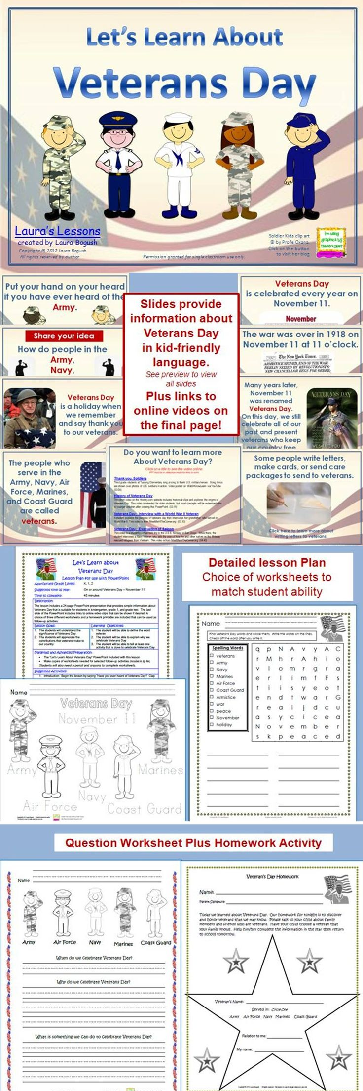 Ready to use Veteran's Day PowerPoint Lesson includes worksheets and homework. Perfect for K, 1st, or 2nd grades. $
