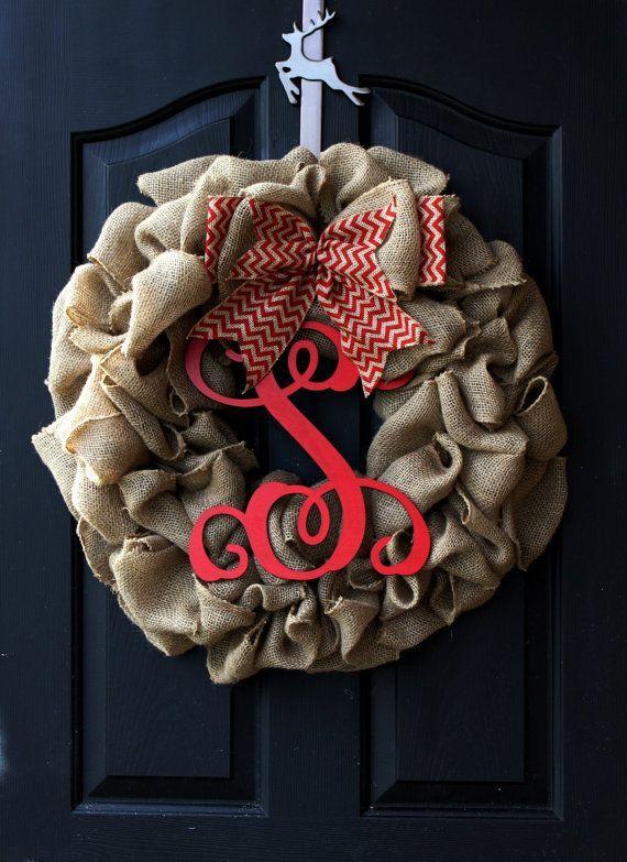 Burlap Wreaths - Christmas Wreath - Burlap Wreath - Wreaths for door - Wreath - Door Wreath - Monogram wreath - Door Wreaths