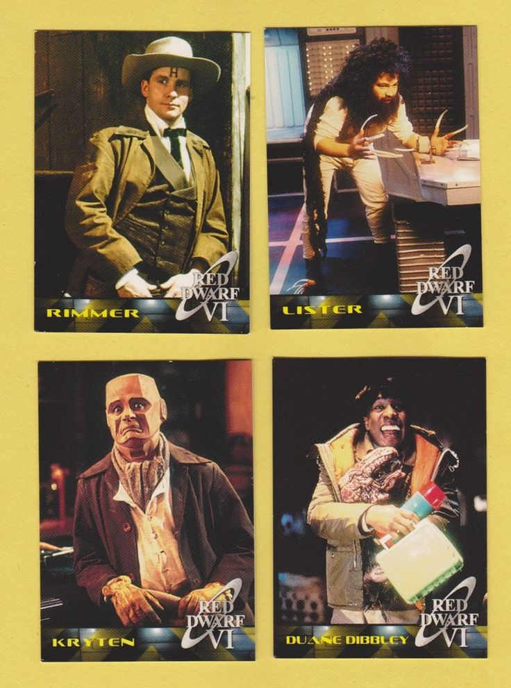 Lot of 4 Red Dwarf VI trading cards Craig Charles Dave Lister Chris Barrie