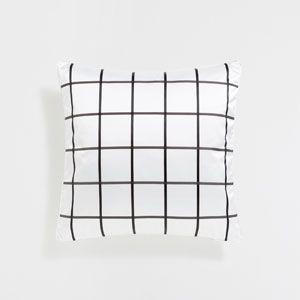 Жаккардовый чехол для подушки в клетку черного цвета