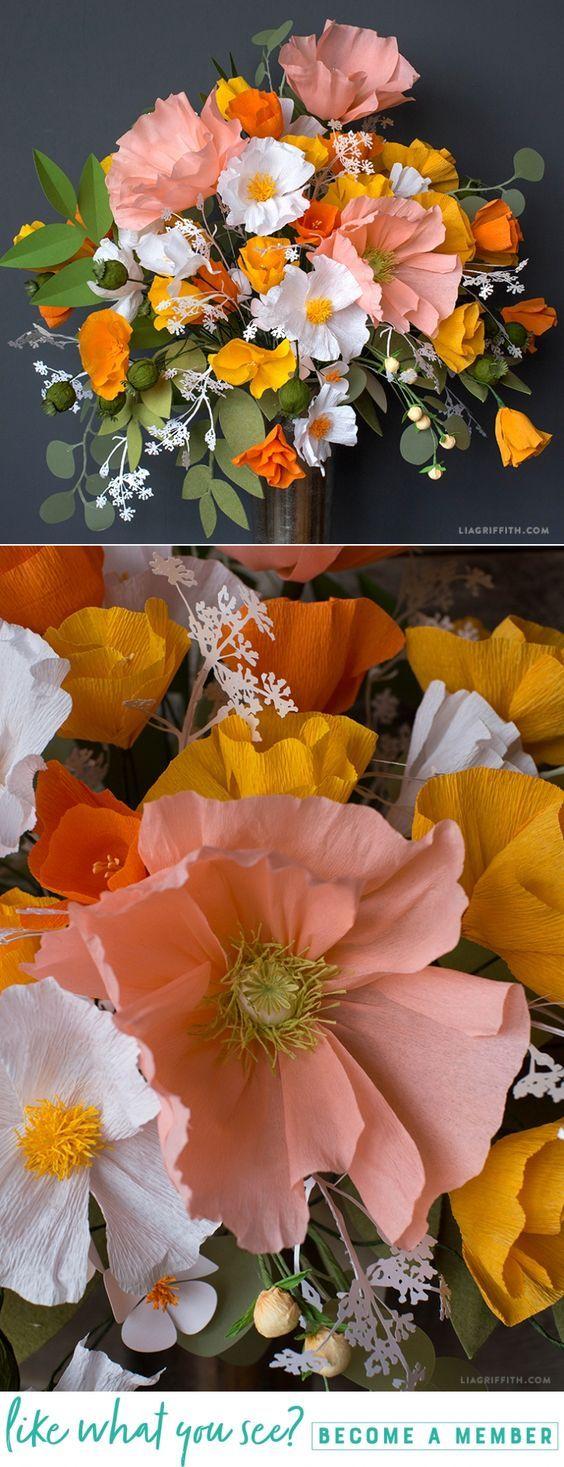 DIY Pacific Coast Floral Bouquet - www.LiaGriffith.com - #paperflowers #paperflower #crepepaperflowers #crepepaper #papeflowertutorial #paperpoppy #paperleaves #paperbouquet #DIYWedding #WeddingDIY