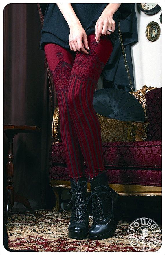Burlesque Leggings - Womens GARTER Legging - BURGUNDY - printed Tights - suspender tights