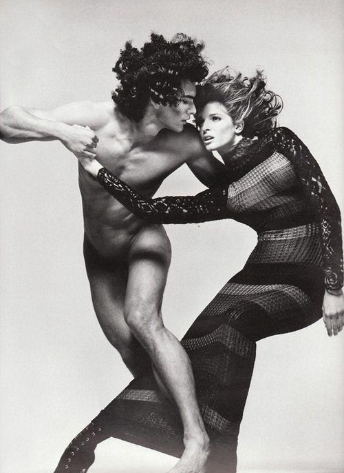 Stephanie Seymour & Marcus Schenkenberg by Richard Avedon for Gianni Versace Vogue Italy, July, 1993.