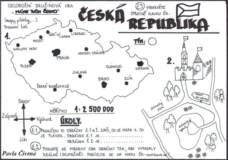 """Mapa a plánek - pracovní list k celoroční družinové hře """"Máme rádi Česko"""""""