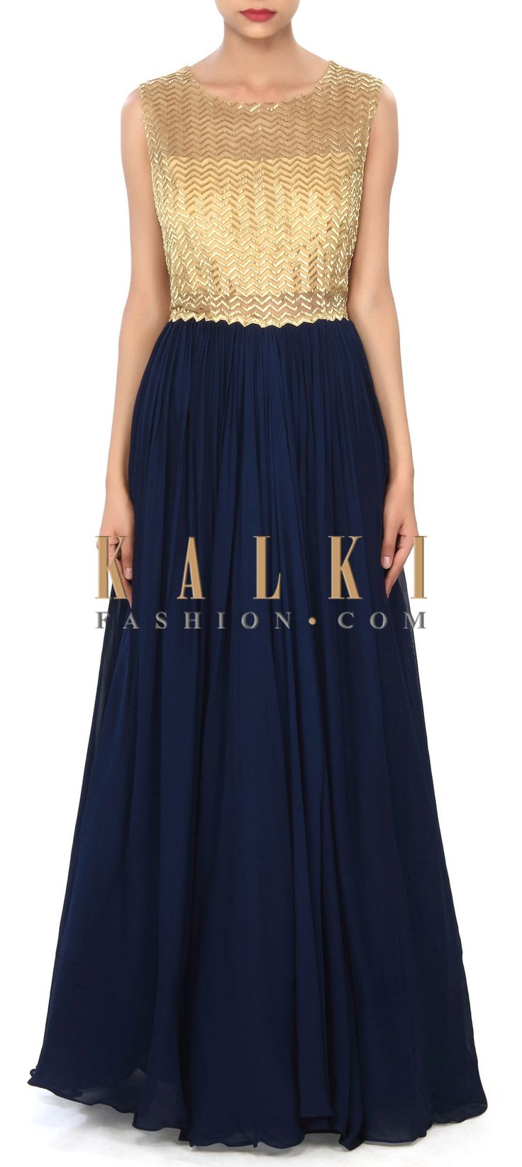 Buy Online from the link below. We ship worldwide (Free Shipping over US$100) Price- $279 Click Anywhere to Tag http://www.kalkifashion.com/navy-blue-gown-enhanced-in-kardana-embroidery-only-on-kalki.html