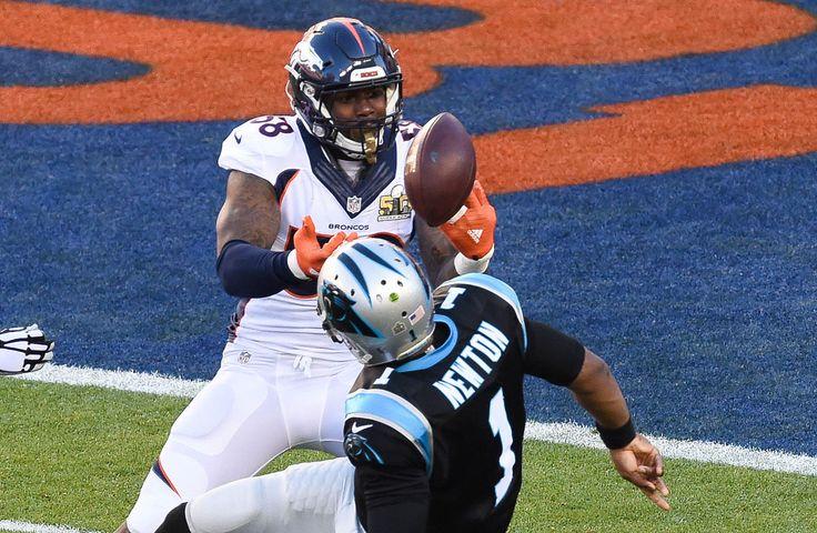 NFL: Super Bowl 50-Carolina Panthers vs Denver Broncos:     The ball goes loose as Carolina Panthers quarterback Cam Newton (1) is sacked by Denver Broncos outside linebacker Von Miller (58) during the first quarter in Super Bowl 50 at Levi's Stadium in Santa Clara, Calif., on Sunday, Feb. 7, 2016. (Richard Mackson/USA TODAY Sports)
