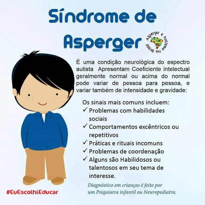 O que é Síndrome de Asperger?    #SíndromedeAsperger    Existem alguns problemas que envolvem a infância e a qual precisamos conhecer, para ajudar as crianças e adolescentes a nossa volta. Vamos postar nos próximos dias: Dislexia, Autismo, Síndrome de Tourett, Síndrome de Asperger, Transtorno do Déficit de Atenção com Hiperatividade (TDAH), Transtorno Bipolar, Transtorno Opositivo Desafiador (TOD), Altas Habilidades, e Esquizofrenia Infantil.    Lembramos que um outro problema, que é uma…