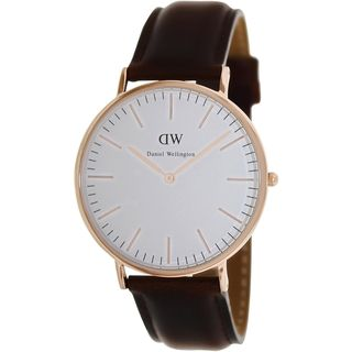 Daniel Wellington Men's Classic 'St. Andrews' Brown Leather Quartz Watch - Overstock™ Shopping - Big Discounts on More Brands Men's Watches