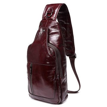 Men Business Genuine Leather Chest Bag Shoulder Bags Crossbody Bags - US$59.99