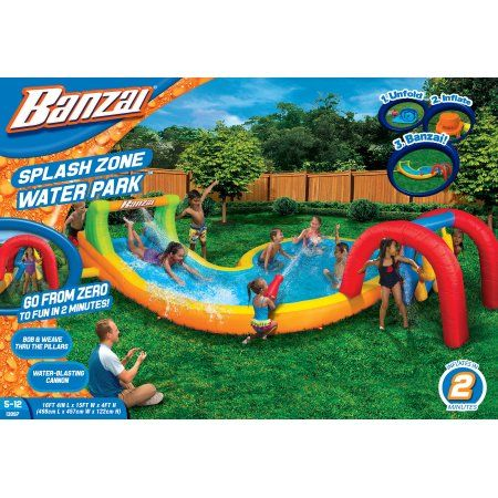 Banzai Splash Zone Water Park (Inflatable Slide with Oversized Splash Pool and Aqua Blaster Cannons), Multicolor