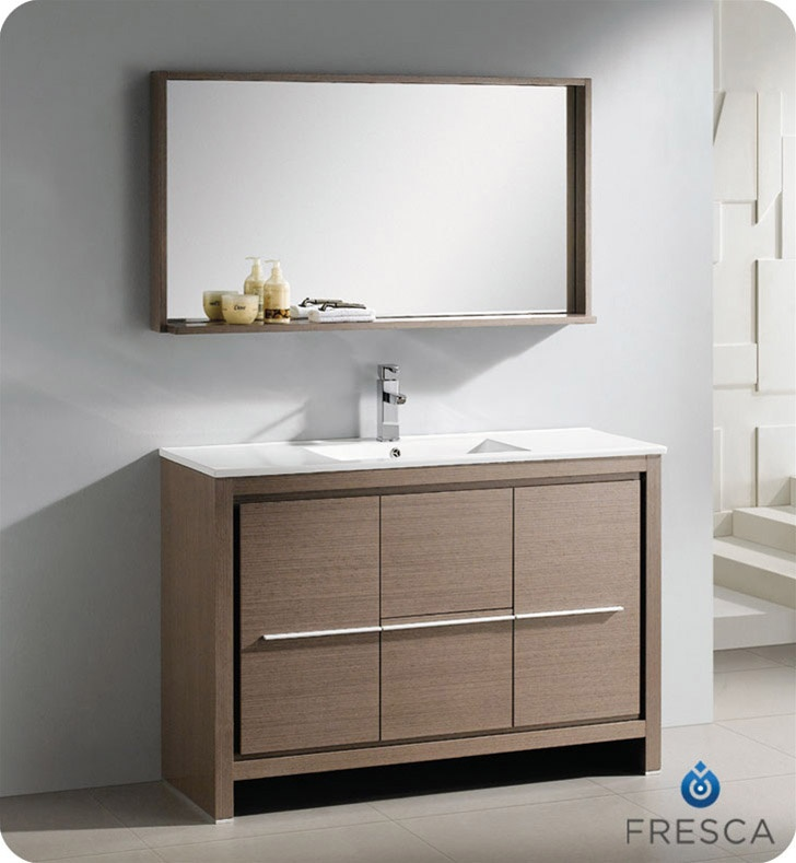 Fresca   Allier 48 Inch Gray Oak Modern Bathroom Vanity With Mirror     Home  Depot Canada