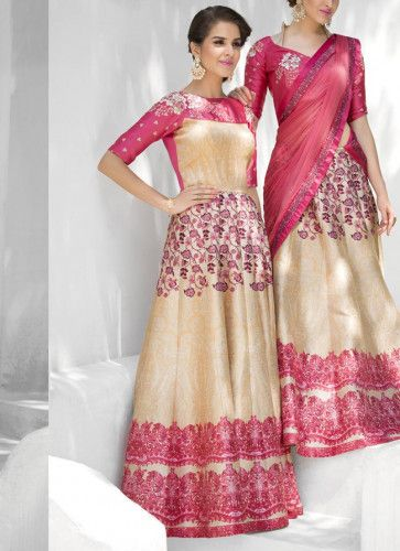 Printed #Cream And #Pink #Party #Gown
