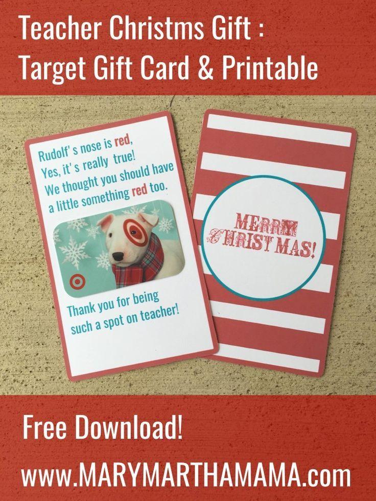 Teacher Christmas Gift: Target Gift card printable