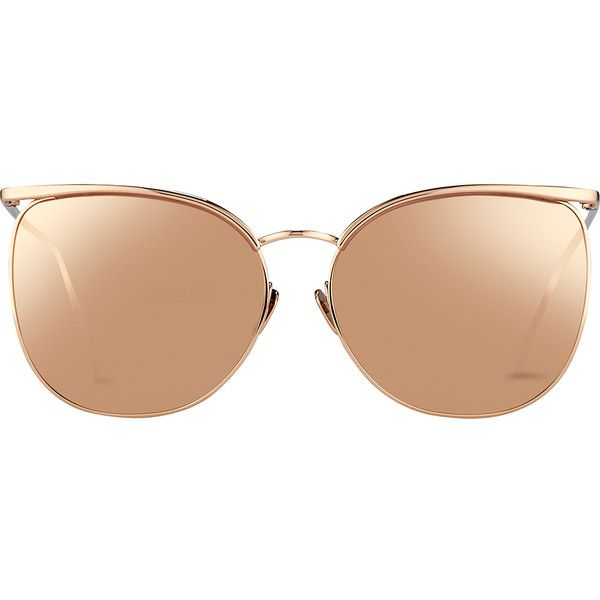 Browline Sunglasses in Rose Gold with a Precious Lens | Linda Farrow ($1,105) ❤ liked on Polyvore featuring accessories, eyewear, sunglasses, lens sunglasses, linda farrow, linda farrow glasses, rose gold sunnies and uv protection glasses