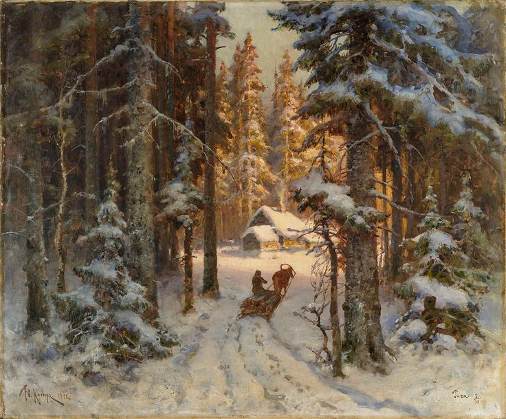 Пейзаж зима русских художников фото с названиями