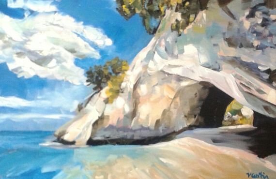 Cathedral Cove New Zealand  original oil painting by Vicky