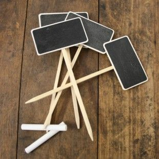 DIY Mini Chalkboards via Culture Label  So….this website SELLS them, but you could totally DIY. You'll need some chalkboard paint and posts…VIOLA, you've got them for a heck of a lot cheaper! These would make great place cards for a rustic dinner party….