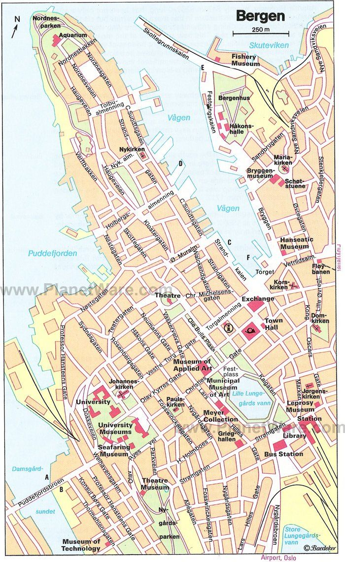 Bergen Map Tourist Attractions Strand Land Norge
