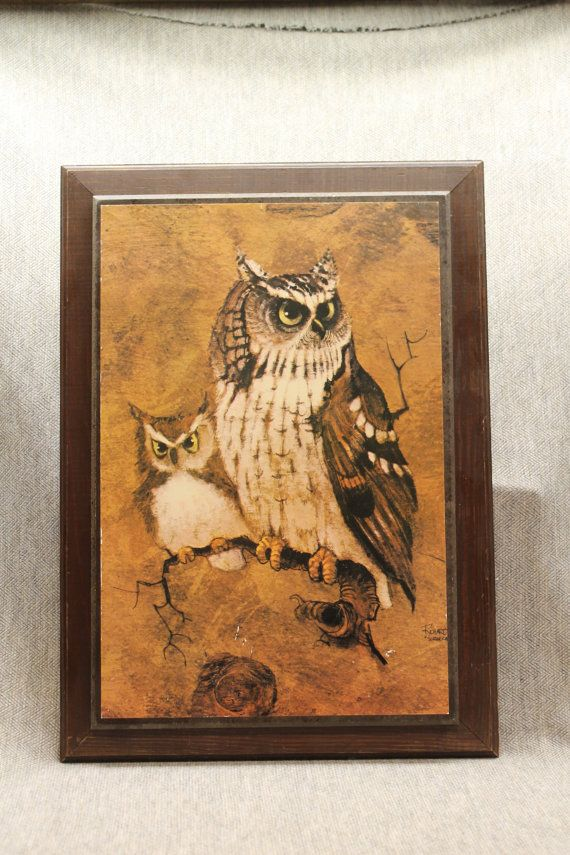 Mom and baby owl american litho on wooden frame two owls signed richard screech home interior