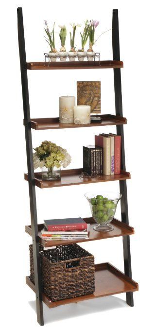 Convenience Concepts 8043391-FC French Country Bookshelf Ladder, Black and Cherry