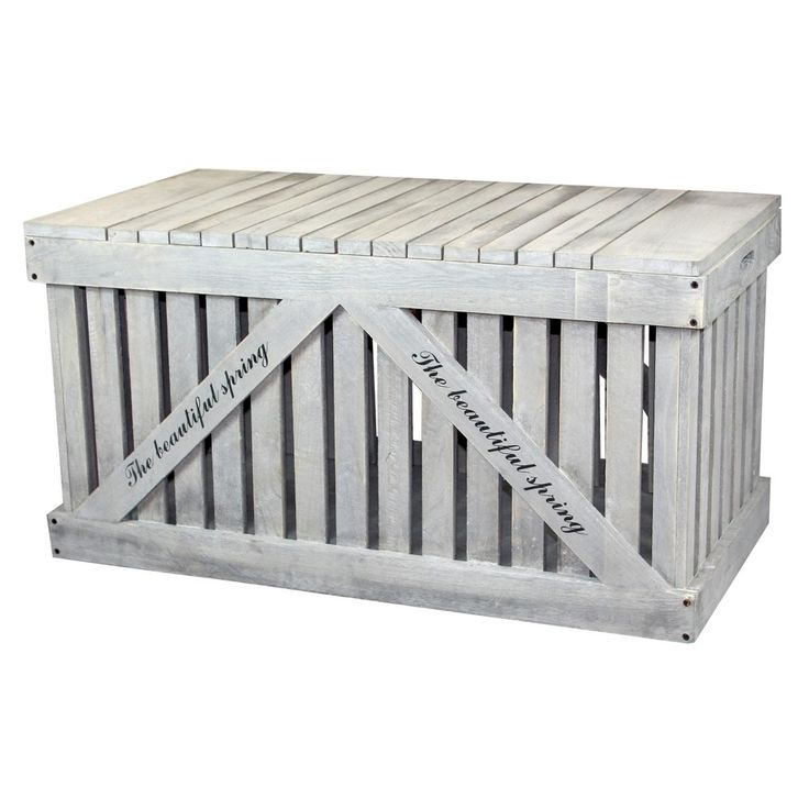 Rustic Gray Wooden Outdoor Deck Box, Patio Storage Trunk - Rustic Gray - Vintiquewise, Grey Chest