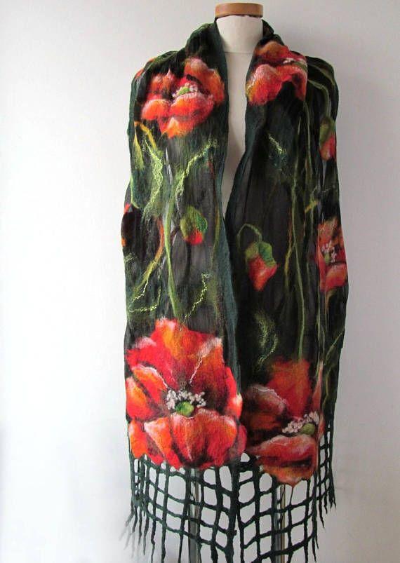 Nuno Felted scarf   Poppy scarf red green flower silk scarf