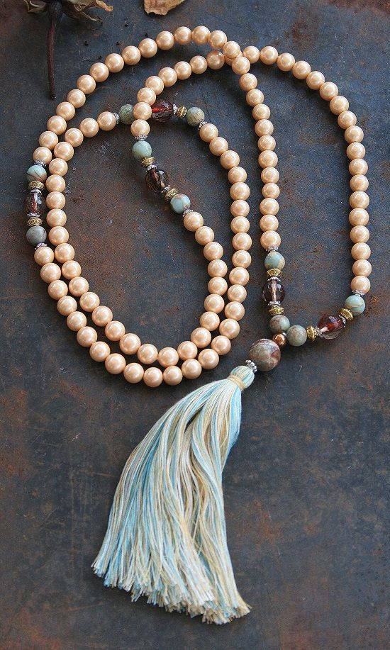 Shell pearl mala necklace by look4treasures on Etsy, $71.95 // FOR MOM