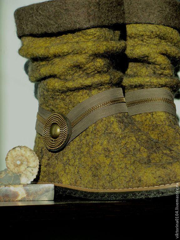 """Купить Полусапожки валяные """"Горчица"""" - валенки ручной работы, теплая обувь, эко-стиль, валенки"""