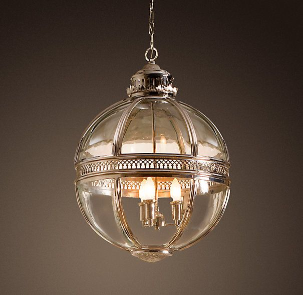 """Another picture of the pendant I am obsessed with . . . Restoration Hardware Victorian Hotel Pendant polished nickel. $1295 for small. 18"""" w x 26"""" h."""