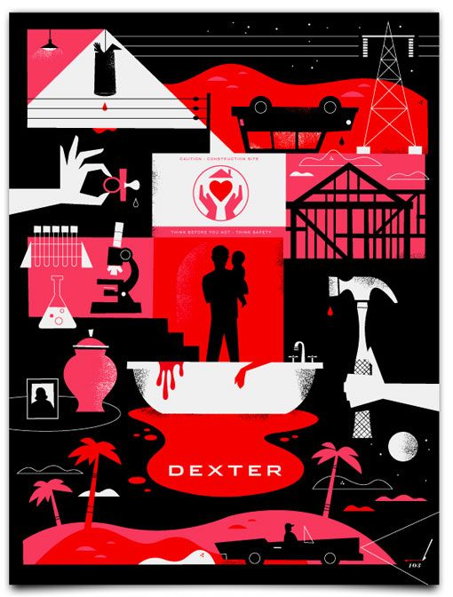 These are in the Comm Arts Illustration Annual, but I love the set of them. Check out #TyMattson. #Dexter #MattsonCreative