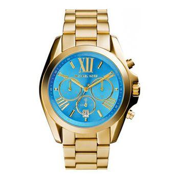 Reloj Mujer Michael Kors MK5975. Esfera de color azul celeste y correa en acero inoxidable de color dorado. #relojes #michaelkors #panama