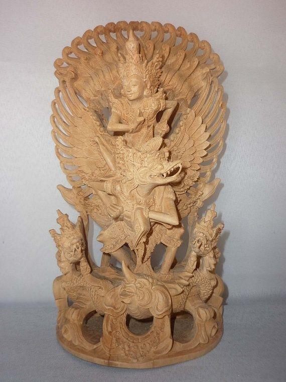 Sandalwood carving handmade  sculpture Garuda Wisnu by JavaCulture