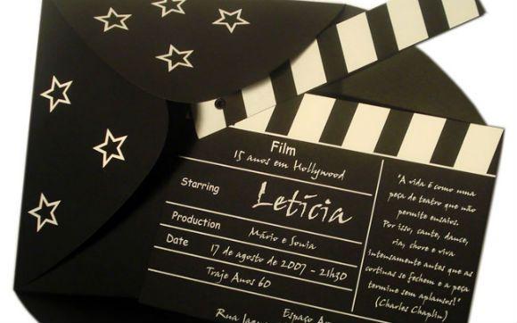 Que tal fazer um convite em forma de claquete de cinema? *-*