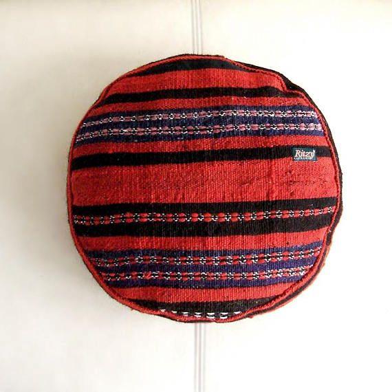 Mini kilim  pouf, Meditation Round Cushion, Kelim pillow, Bohemian living, Circle Turkish cushion, Tribal Handmade, Home Decor,  (34x34 cm)