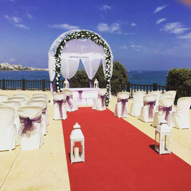 Ceremony set up for blessings at Sunset Beach Club hotel in Benalmadena, Spain
