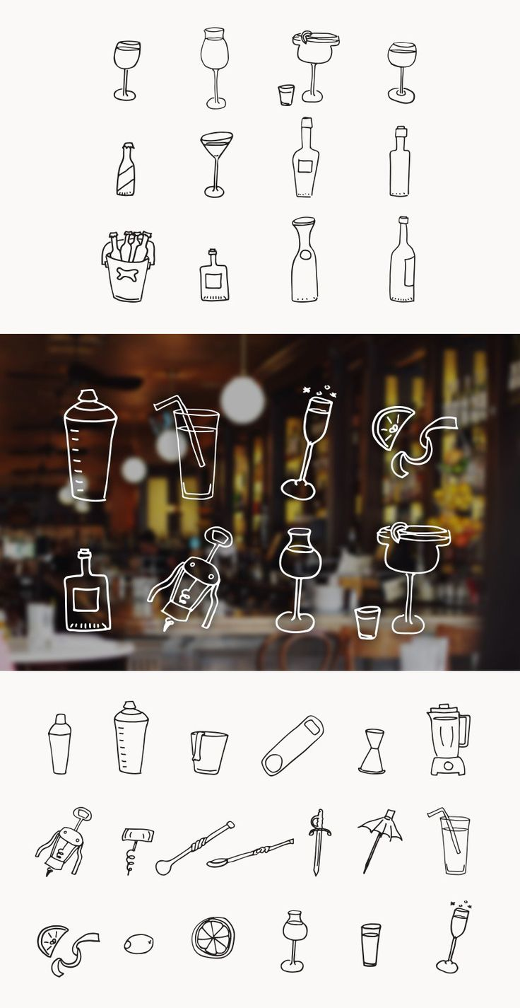This pack by @jnnfrcyl for @medialoot has over 30 hand drawn drink and bartending vector illustrations. Included are doodles for wine, beer, cocktails, blenders, straws, corkscrews and more. These graphics are perfect for restaurant websites and menu designs.