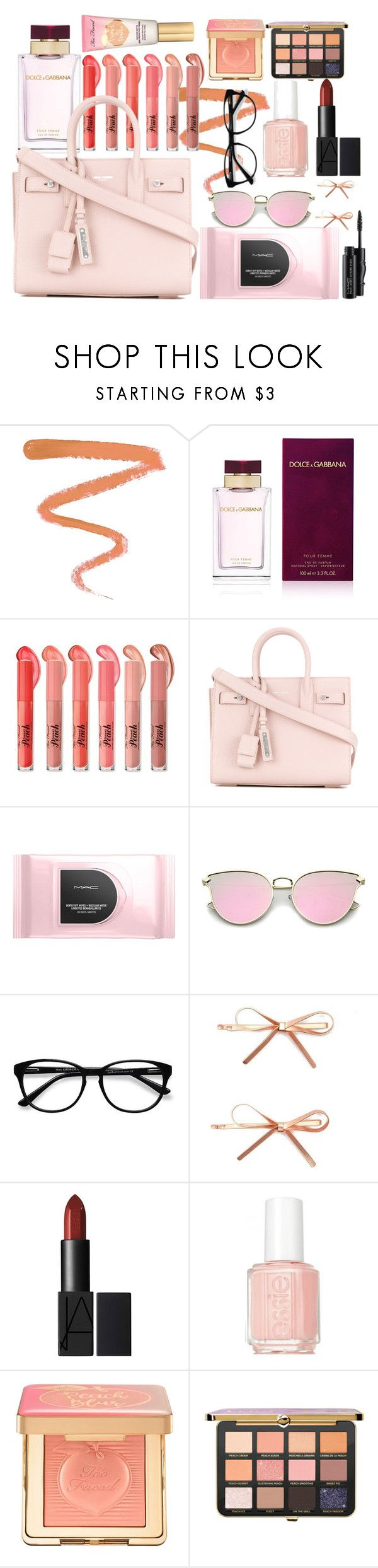"""""""Peach Lipstick"""" by mimixoxomwah ❤ liked on Polyvore featuring beauty, Ellis Faas, Dolce&Gabbana, Yves Saint Laurent, MAC Cosmetics, EyeBuyDirect.com, Forever 21, Essie, Too Faced Cosmetics and peachlipstick"""